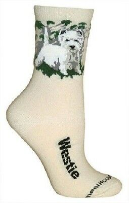 Adult Size Medium WESTIE TERRIER Adult Socks/Natural Made in USA