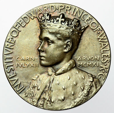 Edward VIII Prince of Wales Investiture Medal 1911 Silver, Official Issue, Cased