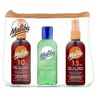 Malibu Trio Travel Bag Set 3 x 100ml (SPF10 & 15 Dry Oil Spray/ Aloe Vera Gel)