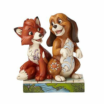 New JIM SHORE DISNEY Figurine THE FOX AND THE HOUND Quilted Statue PUPPY DOG