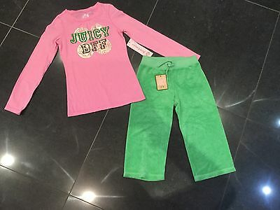 NWT Juicy Couture New & Gen. Girls Age 8 Green Cotton Pants & Matching T-Shirt