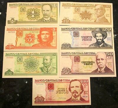 1, 3, 5, 10, 20, 50 and 100 pesos Collection Uncirculated Banknotes