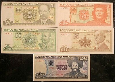 1, 3, 5, 10 and 20 pesos Collection Uncirculated Banknotes