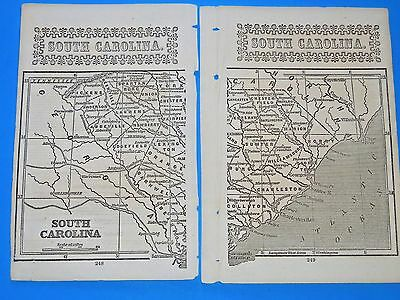 """Antique Map State Of  """"south Carolina""""   From 1852;  9"""" X 7"""". Original From Book"""