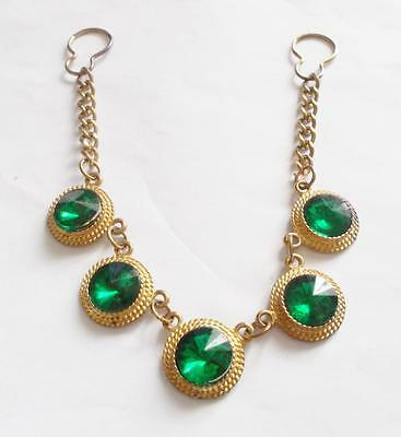 Vintage Emerald Green Crystal Gold Tone Brooch Chain Button / Collar Decoration