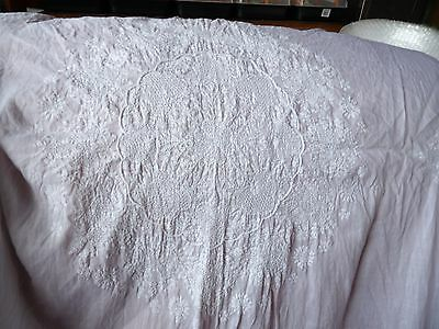 Antique Whitework Hand Embroidered Nearly Square Small Tablecloth 1939
