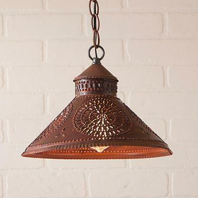 primitive new STOCKBRIDGE rusty punched tin hang light /nice