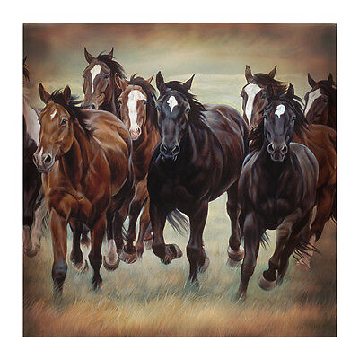 "8 Wild Horses 70"" Fabric Bath Shower Curtain Rustic Western Bathroom Home Decor"