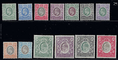 Somaliland Stamps EDVII 1904 1/2 a - 5r (SG32-44) MLH ₤250 / $313