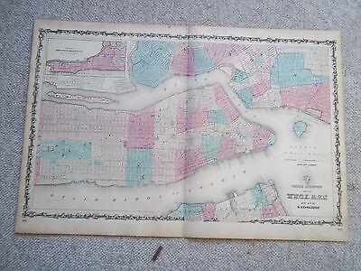 1862 Antique Original Johnson Ward  Hand-Colored Map of NEW YORK CITY