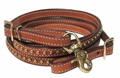 Medium Oil Leather BRASS Studs Western Contest Trail Roping Rein New Horse Tack