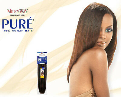 """Pure Yaky Weave By Milkyway 100% Human Hair Extension 12"""" #1B"""