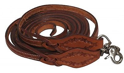 BARBED WIRE Tooled Leather 8 Foot Split Western Leather Reins Nice Quality