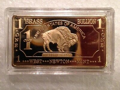 ONE 1 Ounce (OZ) Buffalo Pure Brass Bullion Art Bar Ingot