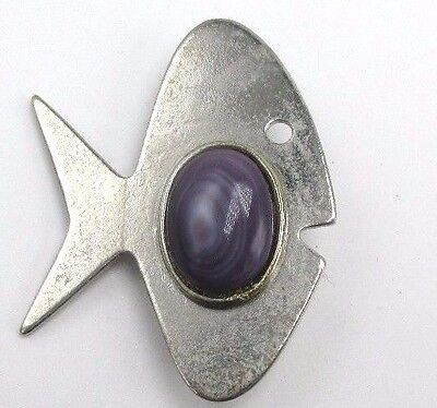 """Silver Tone Fish Character Pin Brooch Purple Stone 1.5"""" Mid-Century Modern Style"""