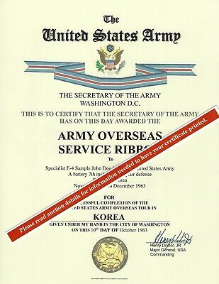 U.S. Army Overseas Ribbon Certificate and FREE Overseas Ribbon