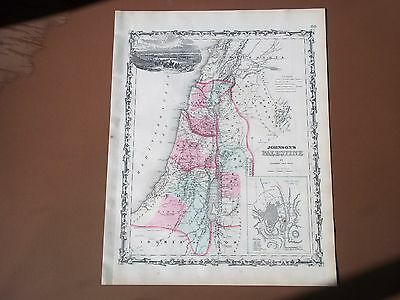 PALESTINE JERUSALEM Antique Map AJ Johnson Ward 1862 Original