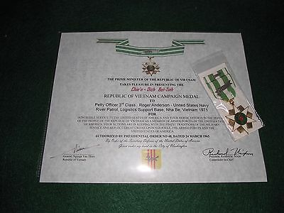 Republic of Vietnam Campaign Medal, Ribbon and Replacement Certificate