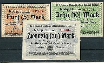 Marienburg 5 + 10 + 20 Mark Notgeld ( I )