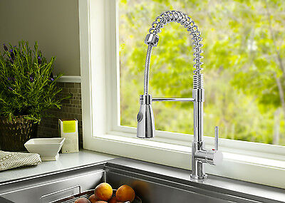 Single Handle Kitchen Faucet Lever Spring Pull Out Spout Chrome Mixer Tap Spray