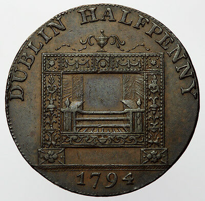 1794 Parker's Dublin Halfpenny ~ D&H351 ~ May Ireland Ever Flourish