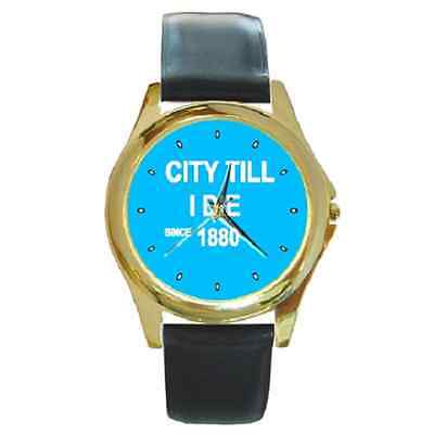 **new* City Till I Die Since 1880 Man City Round Wristwatch **superb Gift Item**