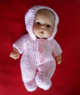 Doll Clothes 8in. Pink vintage style knitted Easter suit Fit Berenguer Kewpie