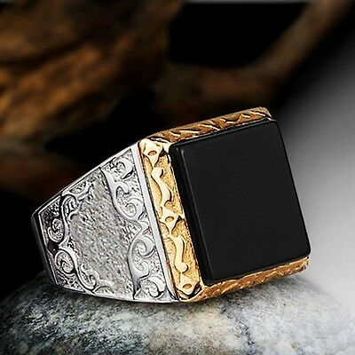 Black ONYX MEN'S RING Solid Silver 925 Natural Stone Ring for Man sizes 9 to 11