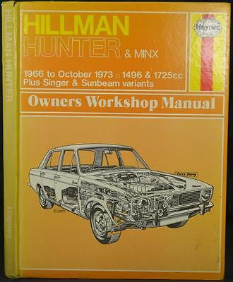 HILLMAN HUNTER & MINX 1966-73 1496, 1725 CC  Haynes Workshop Manual Sunbeam