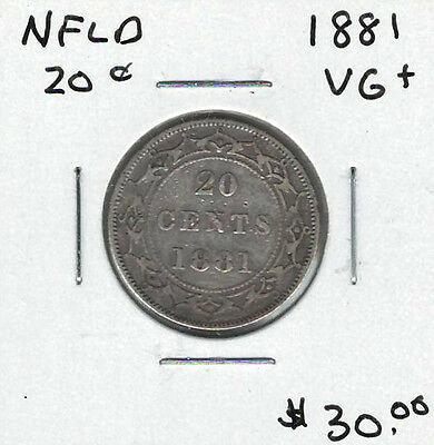 Canada Newfoundland NFLD 1881 20 Cents VG+