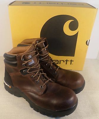 """Carhartt 6366 Men's Work Flex 6"""" Brown Leather Composite Toe Boots New In Box"""