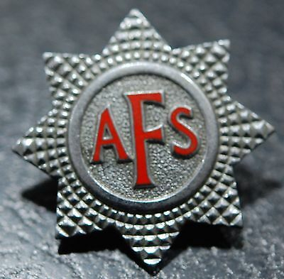 AUXILIARY FIRE SERVICE (AFS) WW2 cap badge (white metal red enamel)