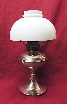 Old Antique PITTSBURGH Nickel Plated Brass SUCCESS #2 OIL LAMP w/ Shade c1890s