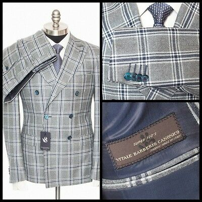 Mens SARTORE Gray Plaid Super 120s Wool 2Btn Double Breasted Suit 52 42 R NWT!