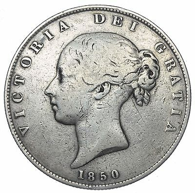 1850 Halfcrown - Victoria British Silver Coin - Scarce