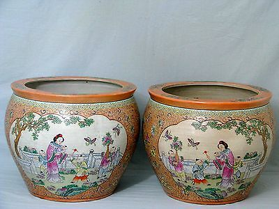 Paar Chinesische Cachepot Pair of Chinese Fish Bowl Famille Rose 20th Century