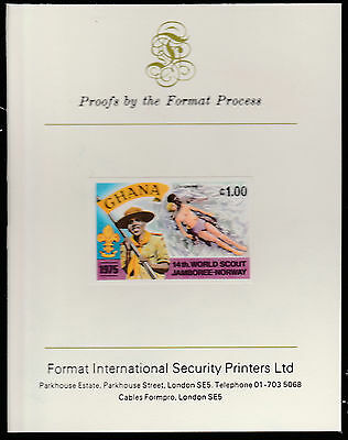 Ghana (1568)  1976 Scout Jamboree 1c imperf on Format International PROOF  CARD