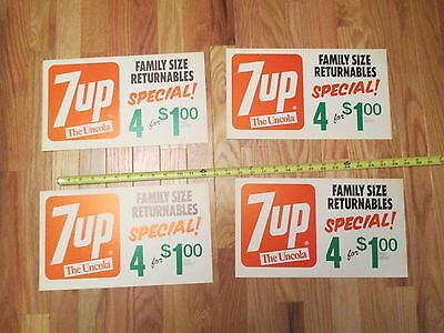 4 Vintage 7up the Uncola Paper Store display signs Advertising