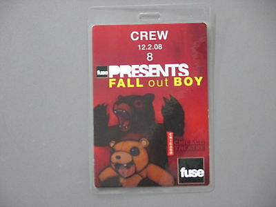 FALL out BOY backstage pass Laminated Authentic Chicago !