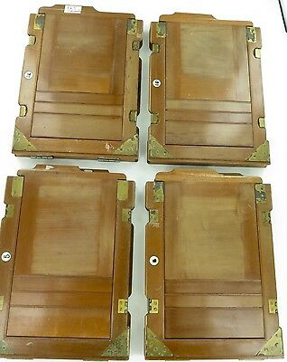 Matching Set Of 4 Antique / Wooden 1/2 Plate Film Backs.
