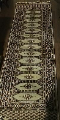 Antique 1930's Hand Knotted Persian Geometric Lozenge Runner Carpet Rug Signed