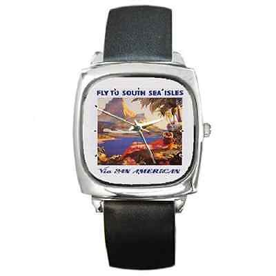 Pan Am Clipper Hawaii Vintage Poster Repro Square Wristwatch **new Item**