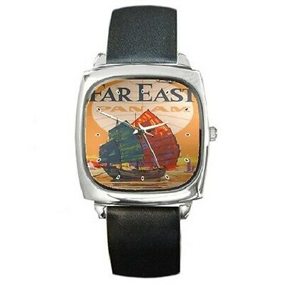 Pan Am Far East Vintage Poster Repro Square Wristwatch **new Item**