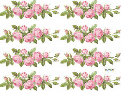XL ChaRmiNg PinK RoSe SwaGs ShaBby DeCALs~FuRniTuRe SZ~