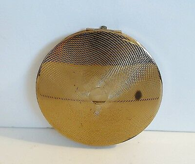 Stratton Powder Compact Goldtone Engine Turned Design In Hand Mark Empty Clean