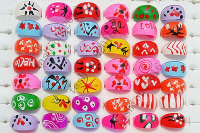 Wholesale Lots Fashion jewelry 25pcs Mixed Pattern Resin Lucite Rings FREE