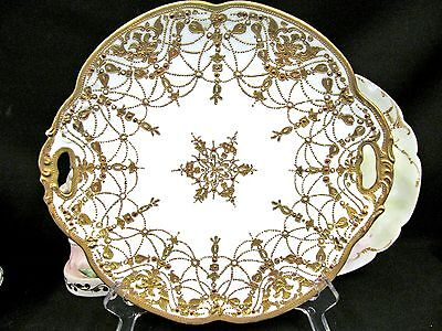 Nippon Beaded Gold Gilt And Jeweled Platter Gold Charger Plate
