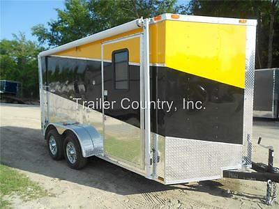 NEW 2017 7X14 7 x 14 V-Nosed Enclosed Cargo Triple Color Motorcycle Trailer Ramp