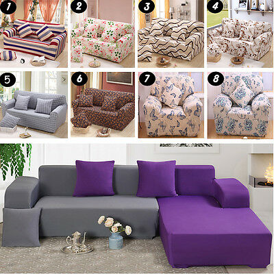 Pure Color / Flower Stretch Elastic Couch Sofa Slip Covers Fit For 1 2 3 Seater