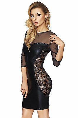 Sexy Wetlook Kleid Schwarz Spitze Black Dress Sexy Minikleid Partykleid S M L XL